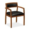 Basyx by HON Leather Guest Chair with Wood Frame