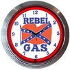"Neonetics Cars and Motorcycles 15"" Rebel Gas Wall Clock"