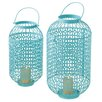 2 Piece Lattice Pillar Metal Lantern Set