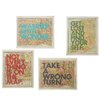 CBK 4 Piece Map with Quotes Framed Textual Art Set (Set of 4)