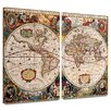 Art Wall 'A New and Accurate Map of the World' by Henricus Hondius 2 Piece Graphic Art Canvas Set