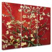 Art Wall 'Almond Blossom' Gallery-Wrapped by Vincent Van Gogh 3 Piece Prints of Paintings on Canvas Set in Red