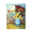 <strong>Art Wall</strong> ''Flowers in Blue Vase'' by Vincent Van Gogh Painting Print on Wrapped Canvas