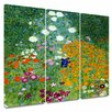 Art Wall 'Farm Garden' by Gustav Klimt 3 Piece Gallery-Wrapped Canvas Art Set