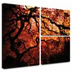 Art Wall 'Fire Breather: Japanese Tree' by John Black Flag 3 Piece Painting Print Gallery-Wrapped on Canvas Set