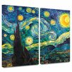 Art Wall 'Starry Night' by Vincent Van Gogh 2 Piece Print of Painting Gallery-Wrapped on Canvas Set