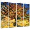 Art Wall 'Mulberry Tree' by Vincent Van Gogh 4 Piece Painting Print Gallery-Wrapped on Canvas Set