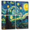 Art Wall 'Starry Night' by Vincent Van Gogh 4 Piece Painting Print Gallery-Wrapped on Canvas Set