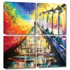 Art Wall 'Rainy Paris Evening' by Susi Franco 4 Piece Painting Print Gallery-Wrapped on Canvas Set