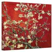 Art Wall ''Interpretation in Red Blossoming Almond Tree'' by Vincent Van Gogh Painting Print on Canvas