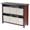 Winsome Verona Low Storage Shelf with 6 Foldable  Baskets