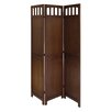 "<strong>Winsome</strong> 70"" x 52.4"" Antique Walnut 3 Panel Folding Room Divider"