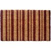 Entryways Burgundy Stripes Extra Thick Handwoven Coconut Fiber Doormat