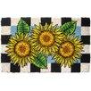Entryways Checkers Sunflower Handwoven Coconut Fiber Doormat