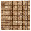 "Faber Noce 1"" x 1"" Travertine Tumbled Mosaic in Brown"