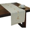 Xia Home Fashions Ribbon Embroidery Rose on Natural Linen with Hemstitch Table Runner