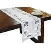 Xia Home Fashions White Rose Embroidered Cutwork Table Runner