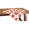 Xia Home Fashions Holiday Poinsettia Embroidered Cutwork Table Topper