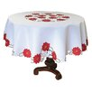 Xia Home Fashions Holiday Poinsettia Embroidered Cutwork Tablecloth