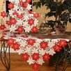 Xia Home Fashions Candy Cane Poinsettia Embroidered Cutwork Holiday Table Topper