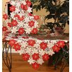Candy Cane Poinsettia Embroidered Cutwork Holiday Table Topper