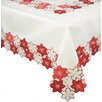 Candy Cane Poinsettia Embroidered Cutwork Holiday Tablecloth