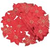 Festive Poinsettia Embroidered Cutwork Holiday Placemat