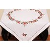 Xia Home Fashions Holly Berry Embroidered Hemstitch Holiday Table Topper