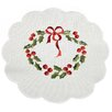 <strong>Xia Home Fashions</strong> Country Wreath Embroidered Hemstitch Round Holiday Doily (Set of 4)