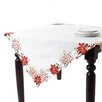 Saro Holiday Poinsettia Embroidered and Cutwork Table Topper