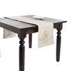 Saro Poinsettia Appliqué Table Runner