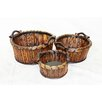 <strong>3 Piece River Cane Basket Set</strong> by Entrada