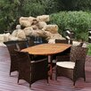 International Home Miami Marquee Eucalyptus Extendable 9 Piece Dining Set with Off-White Cushions