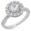 <strong>Sterling Essentials</strong> Sterling Silver Round Cut Cubic Zirconia Halo Ring