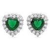 Sterling Essentials Heart Cut Cubic Zirconia Halo Stud Earrings