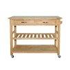 Castleton Home Solid Wood Top Kitchen Island Cart