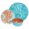 Melamine Coral 3 Piece Place Setting