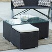 Matrix Hollywood Brown Outdoor Three Piece Coffee Table Set with Two Additional Casual Seating Ottomans