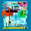 GreenBox Art Tour London by Susy Pilgrim Waters Painting Print on Canvas