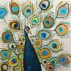 GreenBox Art Peacock Metallic Pearl by Eli Halpin Painting Print on Canvas