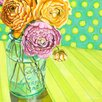 GreenBox Art Ball Jar Ranunculus Blooms by Paula Prass Painting Print on Canvas