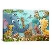 iCanvas Jungle Cartoon Animals Children Art Canvas Print Wall Art