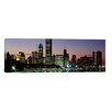 <strong>iCanvasArt</strong> Panoramic Buildings Lit Up at Dusk, Lake Michigan, Chicago, Cook County, Illinois, Photographic Print on Canvas
