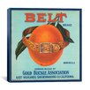 iCanvasArt Belt Brand Oranges Vintage Crate Label Canvas Wall Art