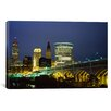 <strong>iCanvasArt</strong> Panoramic Bridge in a City Lit Up at Night, Detroit Avenue Bridge, Cleveland, Ohio Photographic Print on Canvas