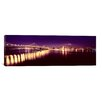 iCanvasArt Panoramic Bridge Lit Up at Night, Bay Bridge, San Francisco Bay, California Photographic Print on Canvas