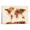 <strong>iCanvasArt</strong> 'Bronze Paint Splash World Map' by Michael Thompsett Graphic Art on Canvas