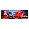 <strong>iCanvasArt</strong> Panoramic Buildings Lit up at Night South Beach, Florida Photographic Print on Canvas