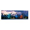 iCanvas Panoramic Buildings Lit Up at Dusk, Ocean Drive, Miami Beach, Florida, Photographic Print on Canvas