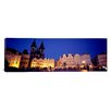 iCanvas Panoramic Buildings Lit Up at Dusk, Prague Old Town Square, Old Town, Prague, Czech Republic Photographic Print on Canvas